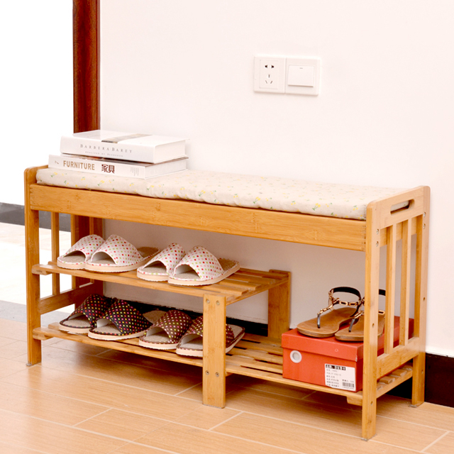 带坐垫实木鞋架换鞋凳